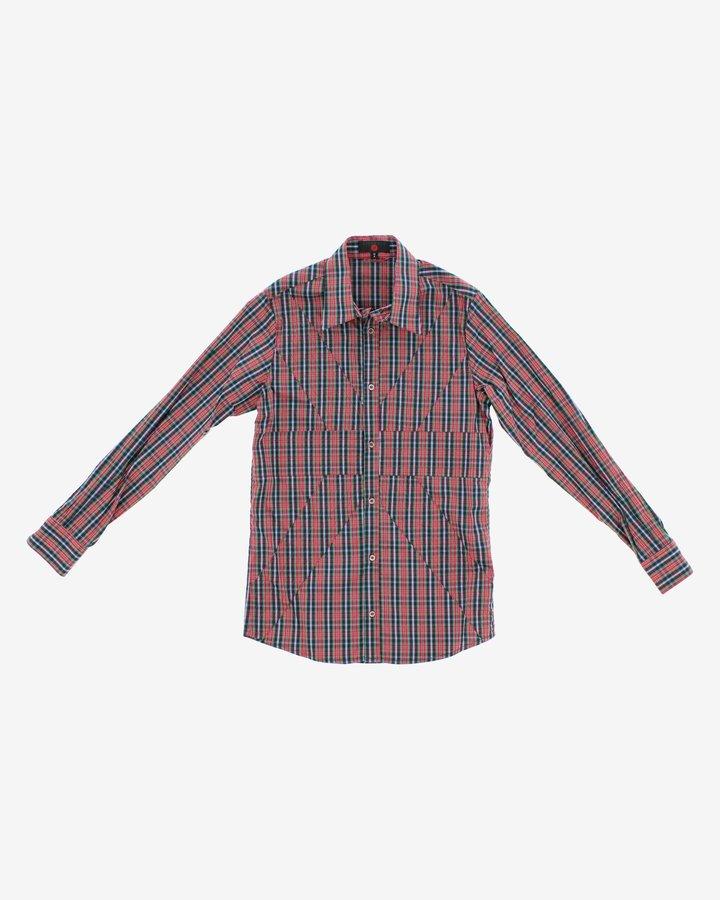 Červeno-modrá chlapecká košile s dlouhým rukávem John Richmond - velikost 116
