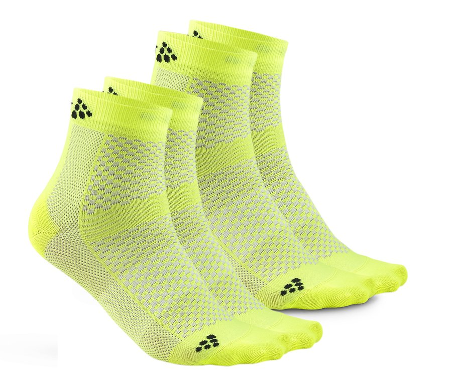 Žluté kotníkové pánské ponožky Craft - velikost 34-36 EU - 2 ks