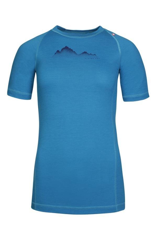 Modré dámské turistické tričko s krátkým rukávem Alpine Pro - velikost L