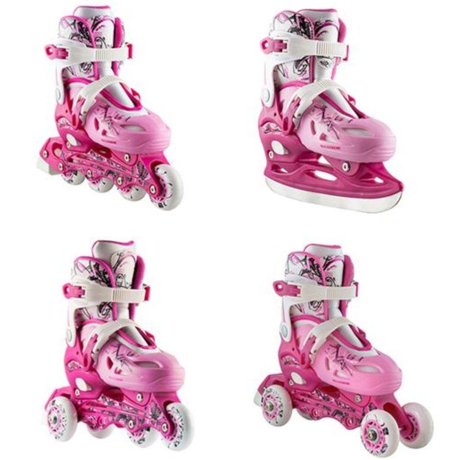 Růžové dětské rekreační dívčí kolečkové brusle Nils Extreme