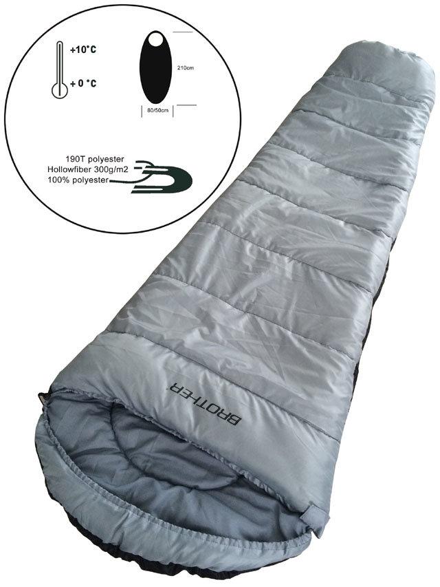 Šedý spací pytel Mummy 3, Acra - délka 210 cm