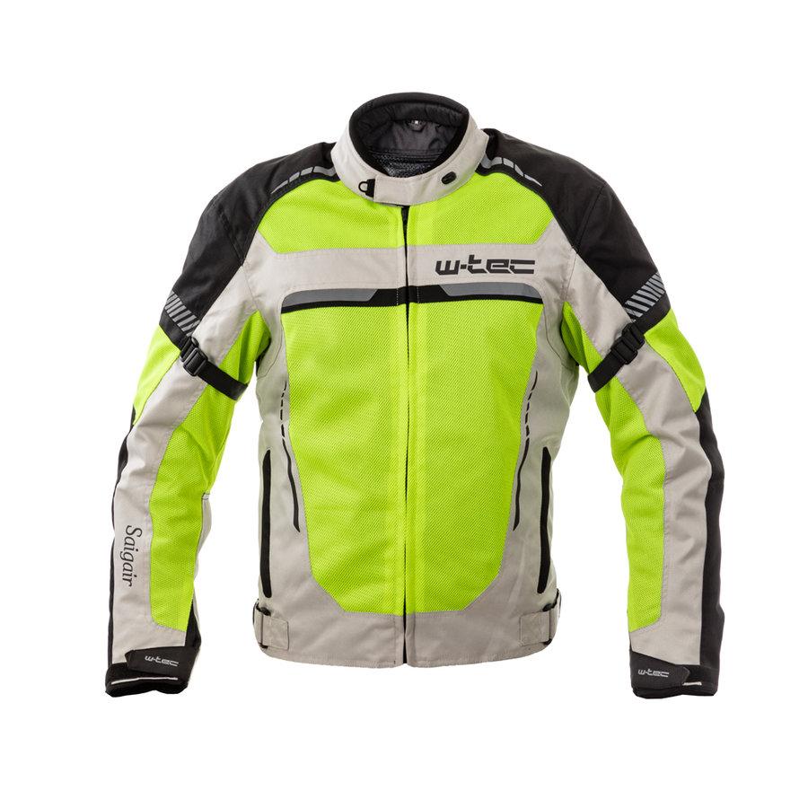Šedo-žlutá pánská motorkářská bunda Saigair, W-TEC