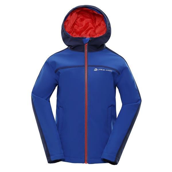 Modrá softshellová dětská bunda s kapucí Alpine Pro - velikost 92-98