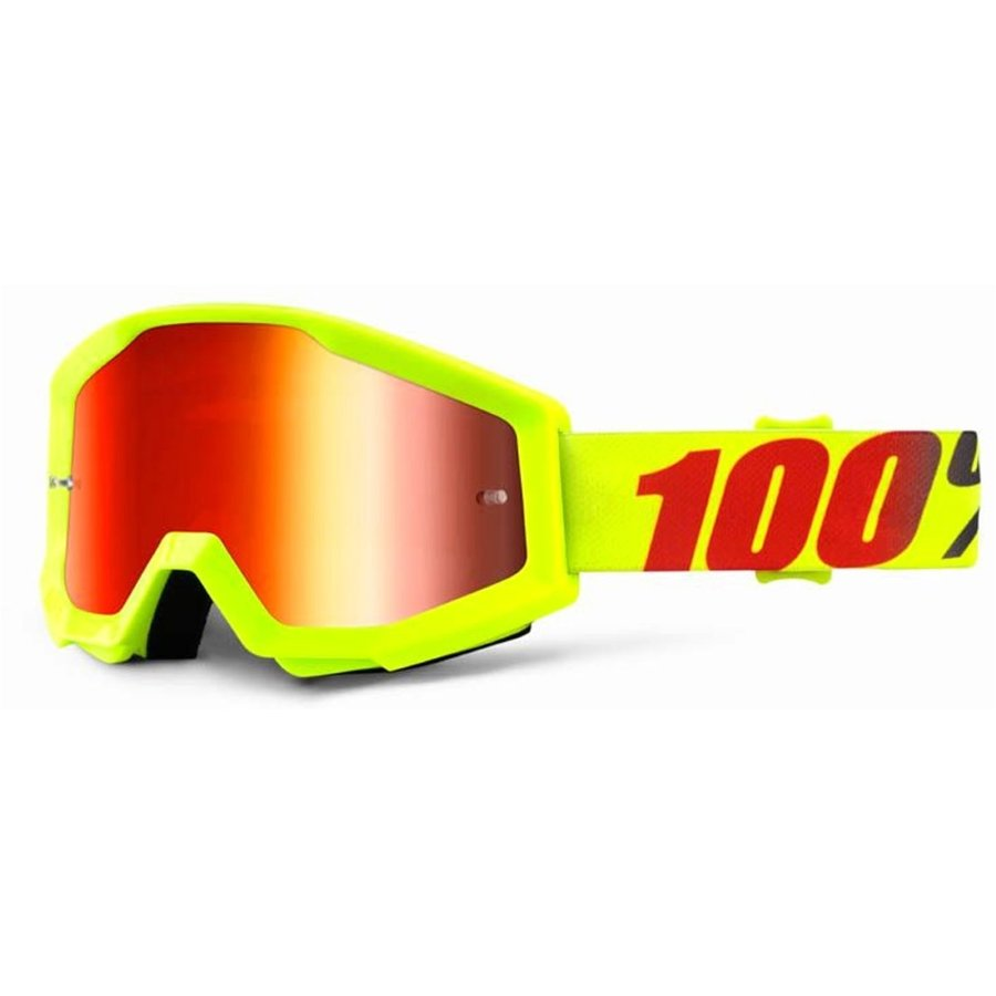 Motorkářské brýle - 100% Strata Mercury fluo žlutá, červené chrom plexi s čepy pro slídy
