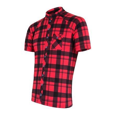 Černo-červený pánský cyklistický dres Sensor