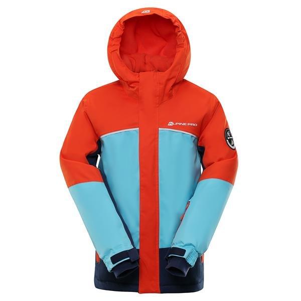 Modro-oranžová dětská zimní bunda s kapucí Alpine Pro - velikost 116-122