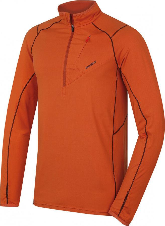 Oranžová pánská turistická mikina bez kapuce Husky