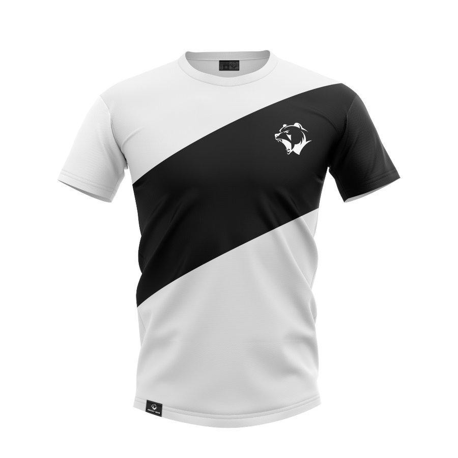 Bílo-černé pánské tričko s krátkým rukávem Grizzly Gear