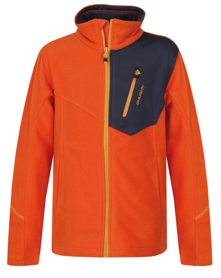 Oranžová dětská mikina bez kapuce Husky