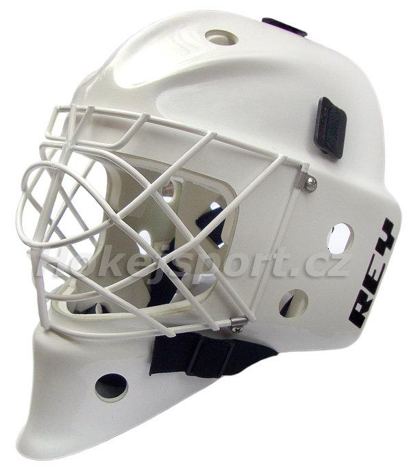 Brankářská maska - Brankářská maska Rey HOMG-019 FG CAT EYE Junior White Provedení: maska bílá, mřížka bílá