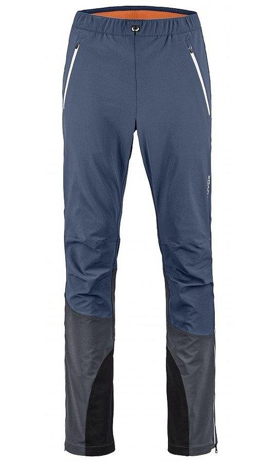 Modro-šedé softshellové pánské turistické kalhoty Ortovox