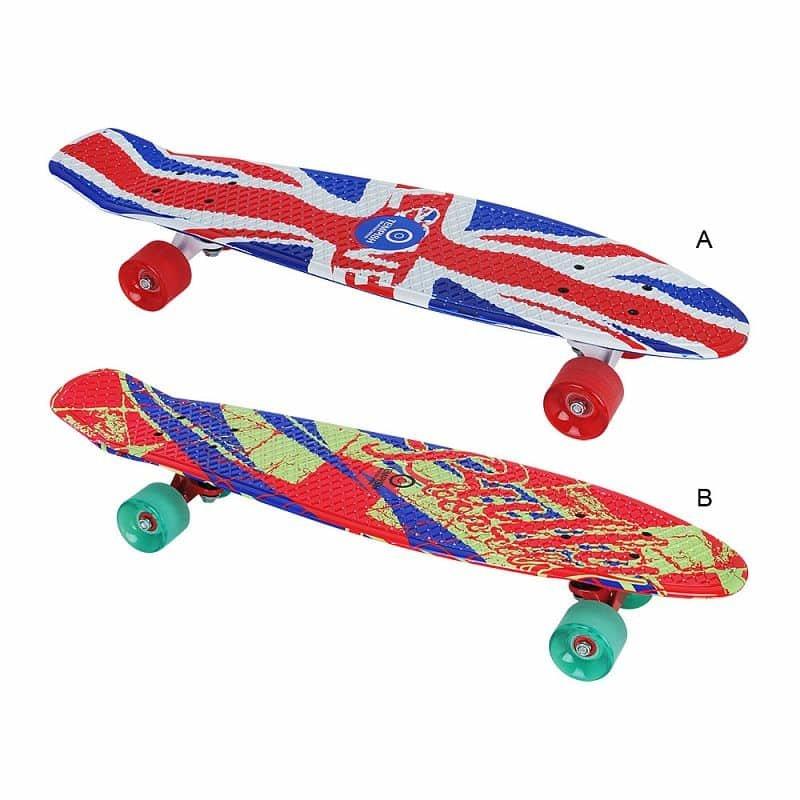 """Pennyboard - Pennyboard BUFFY 28"""" UNIQUE skateboard varianta B: červená-modrá-zelená"""