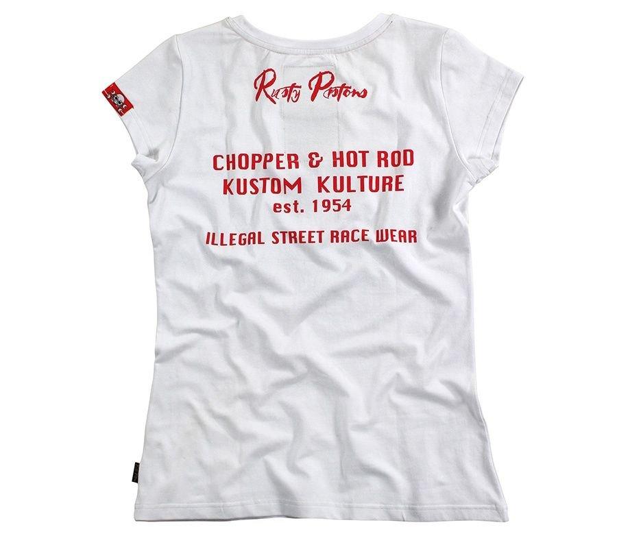 Bílé dámské motorkářské tričko s krátkým rukávem Rusty Pistons - velikost XS