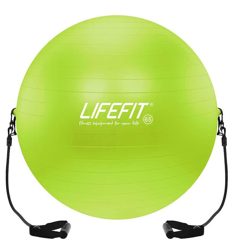 Zelený gymnastický míč s gumovými expandéry Lifefit - průměr 65 cm