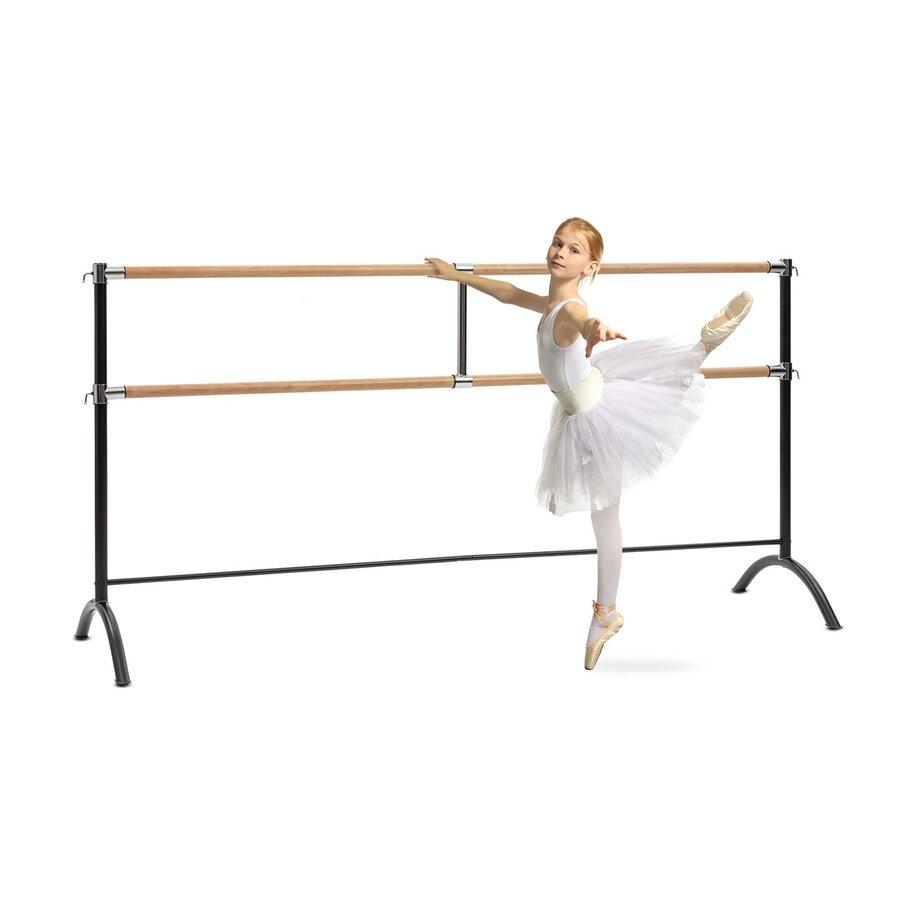 Baletní tyč - KLARFIT Barre Marie, dvojitá baletní tyč, volně stojící, 220x113, 2x38cm