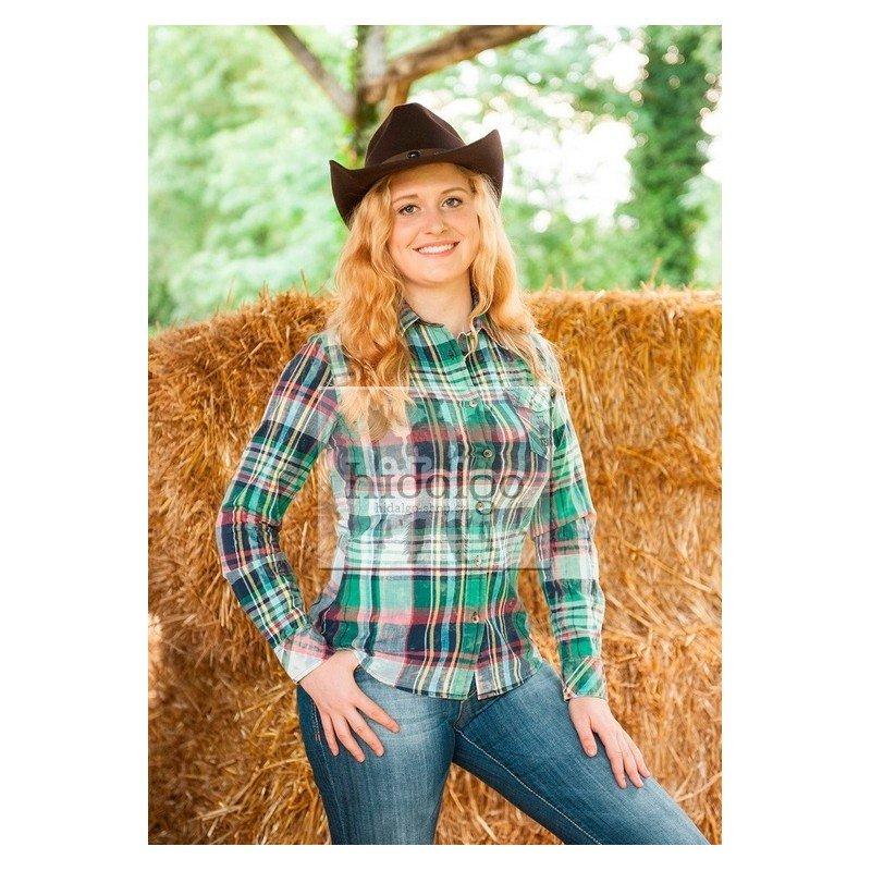 Zelená westernová dámská jezdecká košile s dlouhým rukávem Dallas, HKM