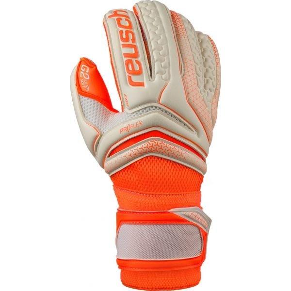 Bílo-oranžové pánské brankářské fotbalové rukavice Reusch