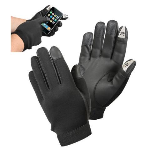 Černé neoprenové rukavice TOUCH SCREEN, ROTHCO