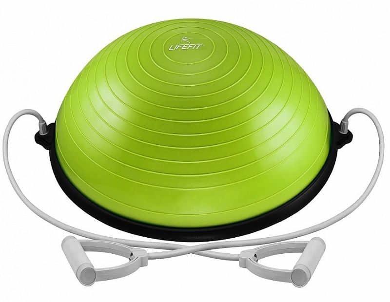 Zelená balanční podložka s gumovými expandéry Lifefit