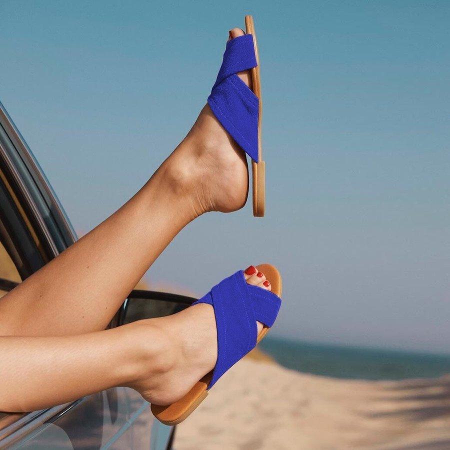 Modré dámské pantofle Pieces