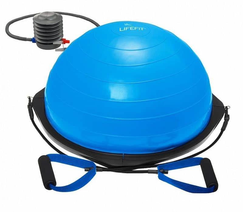 Modrá balanční podložka s gumovými expandéry Lifefit