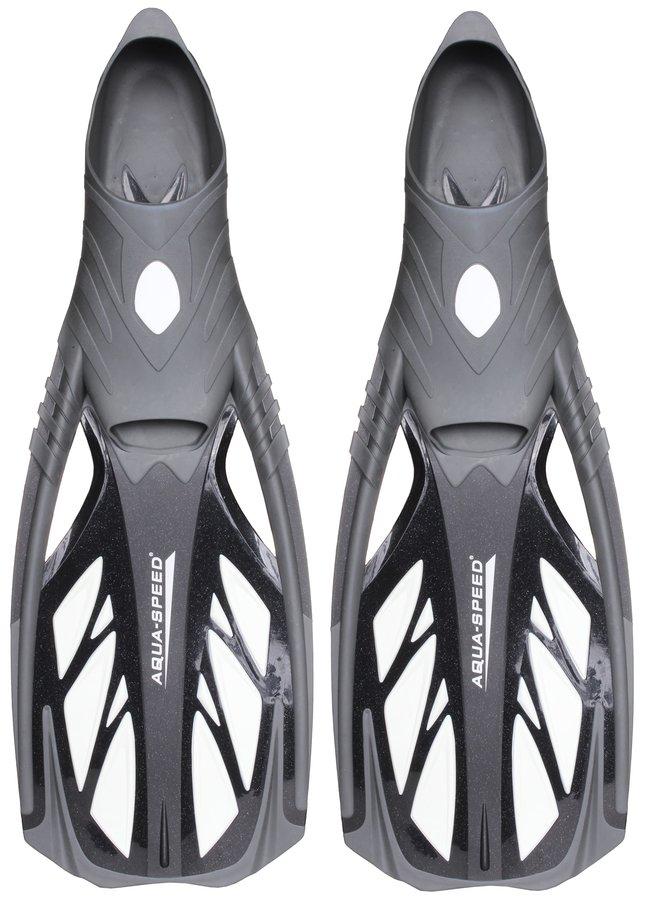 Bílo-černé dlouhé potápěčské ploutve Inox, Aqua-Speed - velikost 42-43 EU