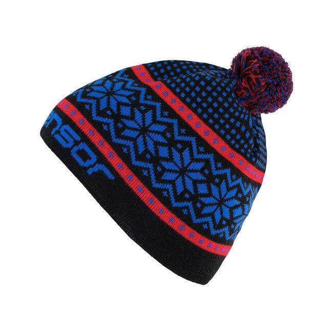 Červeno-modrá dámská zimní čepice Sensor