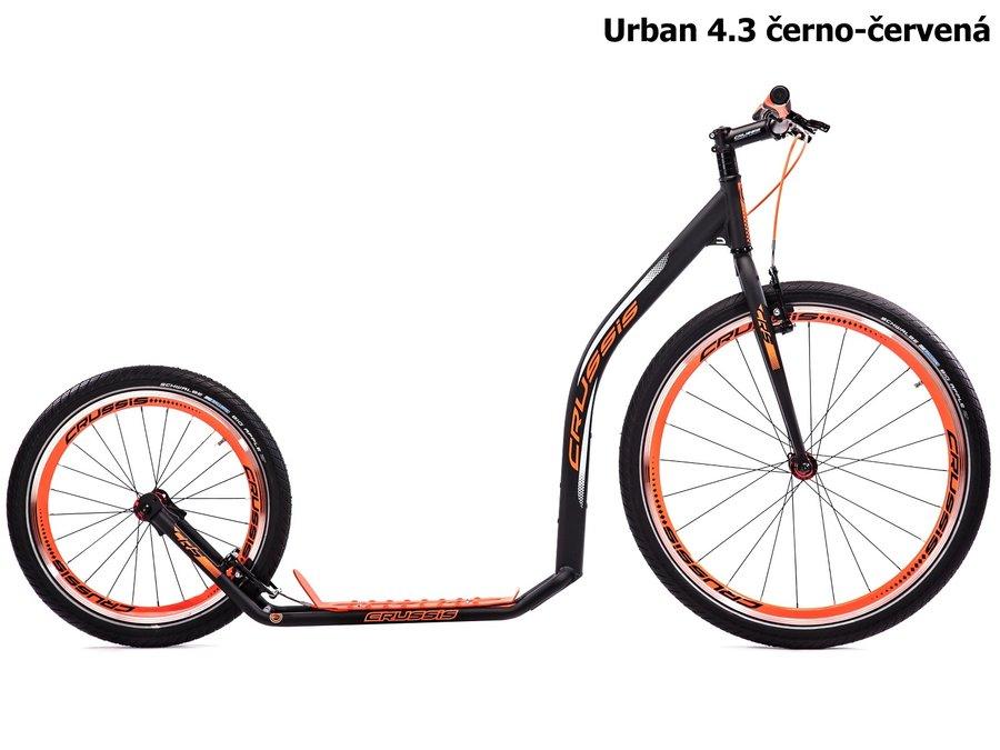 Černo-červená koloběžka pro dospělé Urban, Crussis - nosnost 150 kg