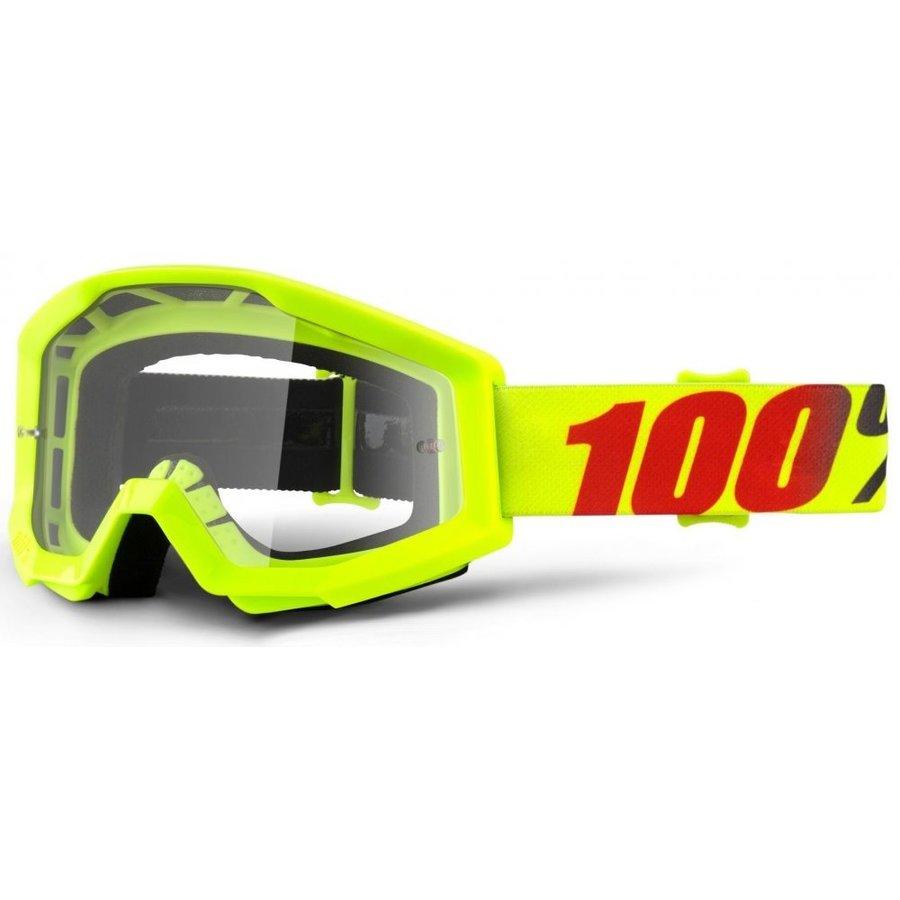 Motorkářské brýle - 100% Strata Mercury fluo žlutá, čiré plexi s čepy pro slídy