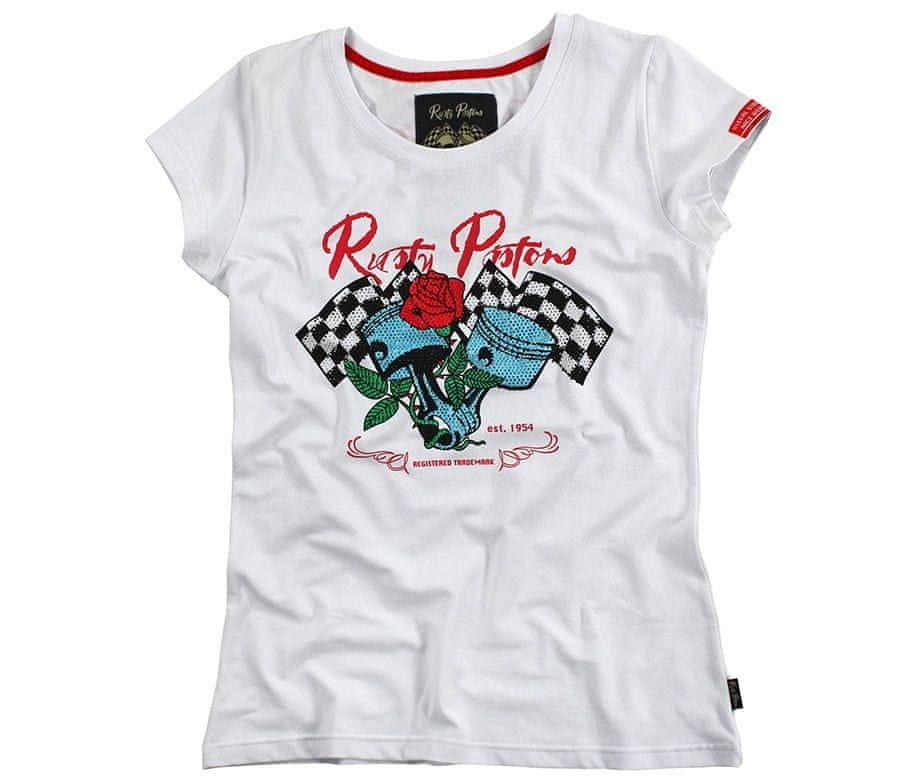 Bílé dámské motorkářské tričko s krátkým rukávem Rusty Pistons