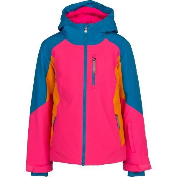 Růžová zimní dívčí bunda s kapucí Spyder