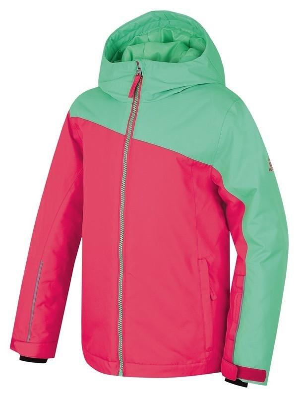 Červeno-zelená dětská lyžařská bunda Hannah