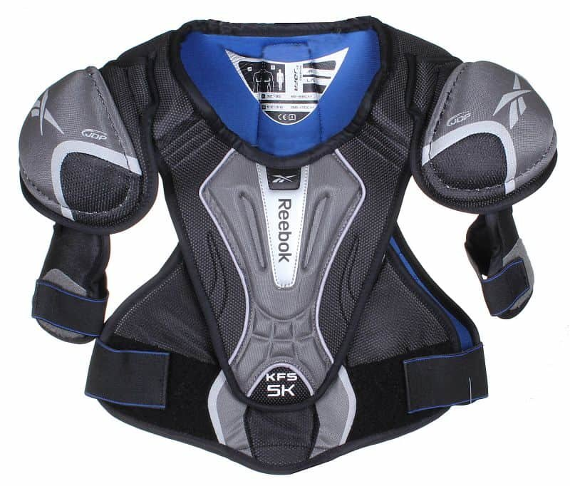 Černo-šedý hokejový chránič ramen - junior Reebok - velikost L