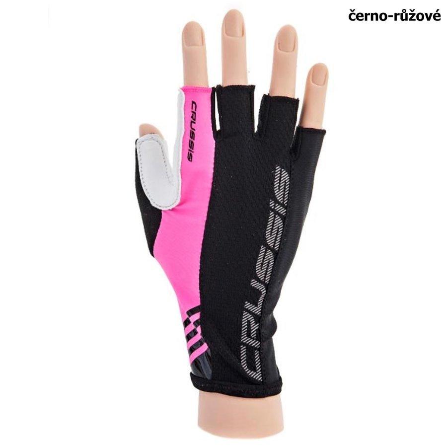 Černo-růžové cyklistické rukavice Crussis