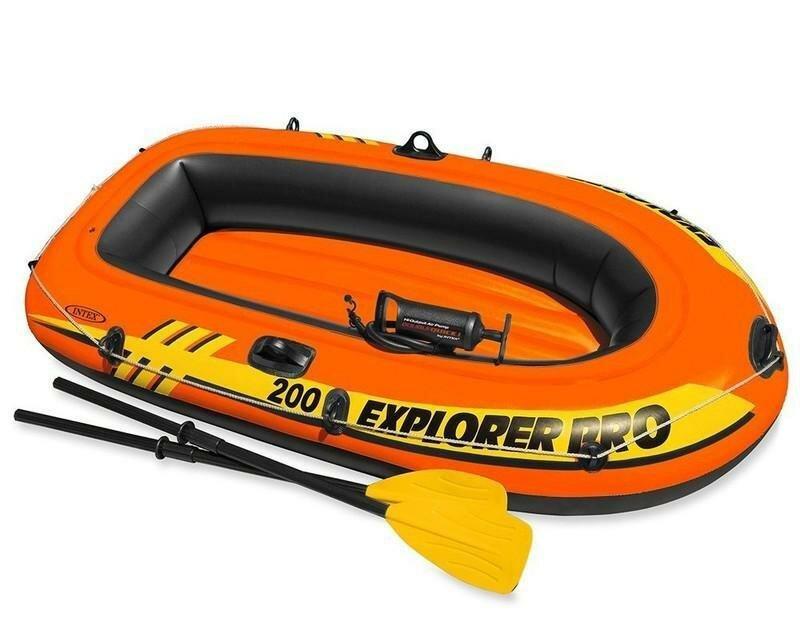 Oranžový nafukovací člun s nafukovacím dnem pro 5 osob + 1 dítě Explorer Pro 200, INTEX