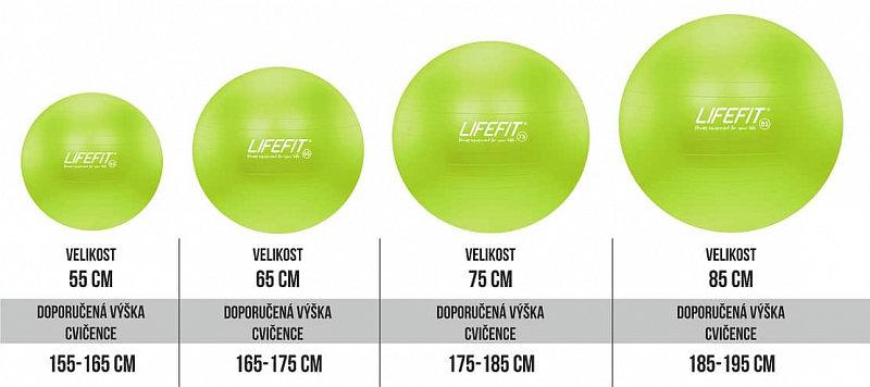 Zelený gymnastický míč ANTI-BURST, Lifefit - průměr 75 cm