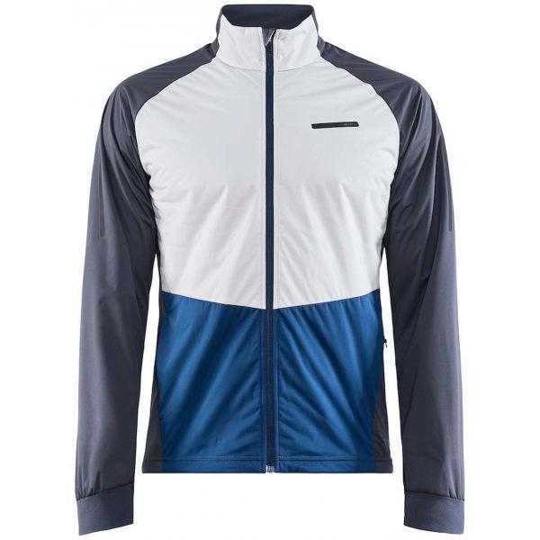 Bílo-modrá pánská bunda na běžky bez kapuce Craft - velikost XL