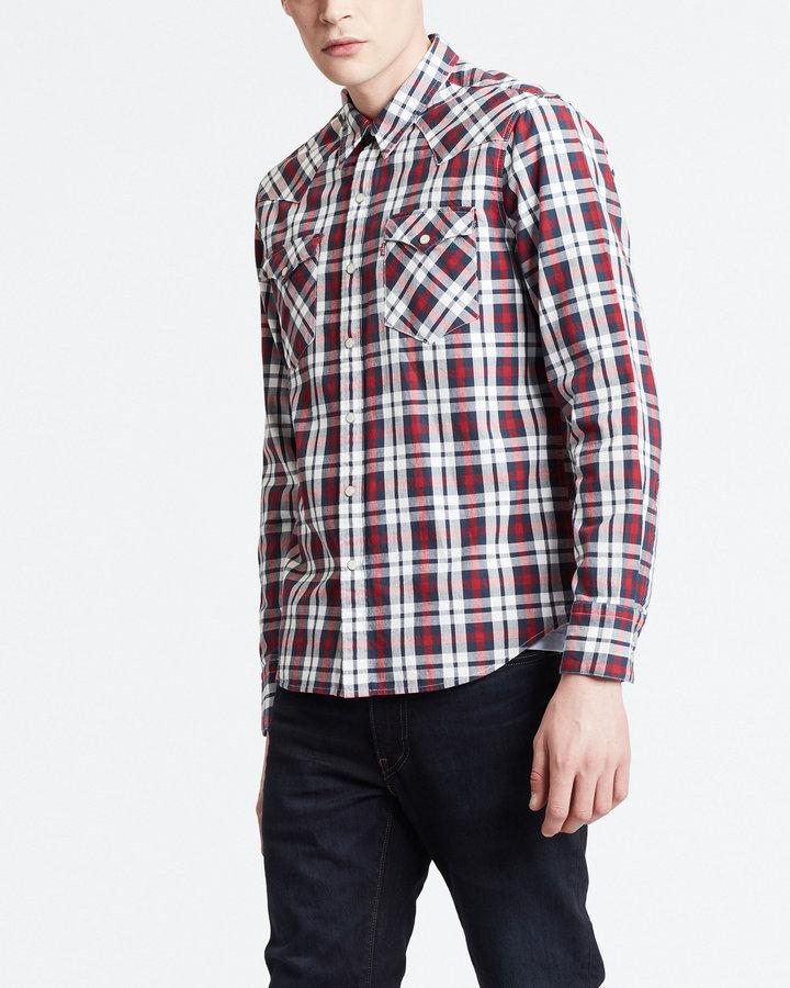 Bílo-červená pánská košile s dlouhým rukávem Levi's - velikost S