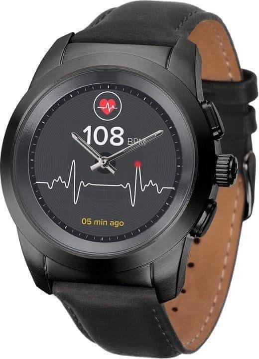 Černé analogové chytré hodinky ZeTime Premium, MyKronoz