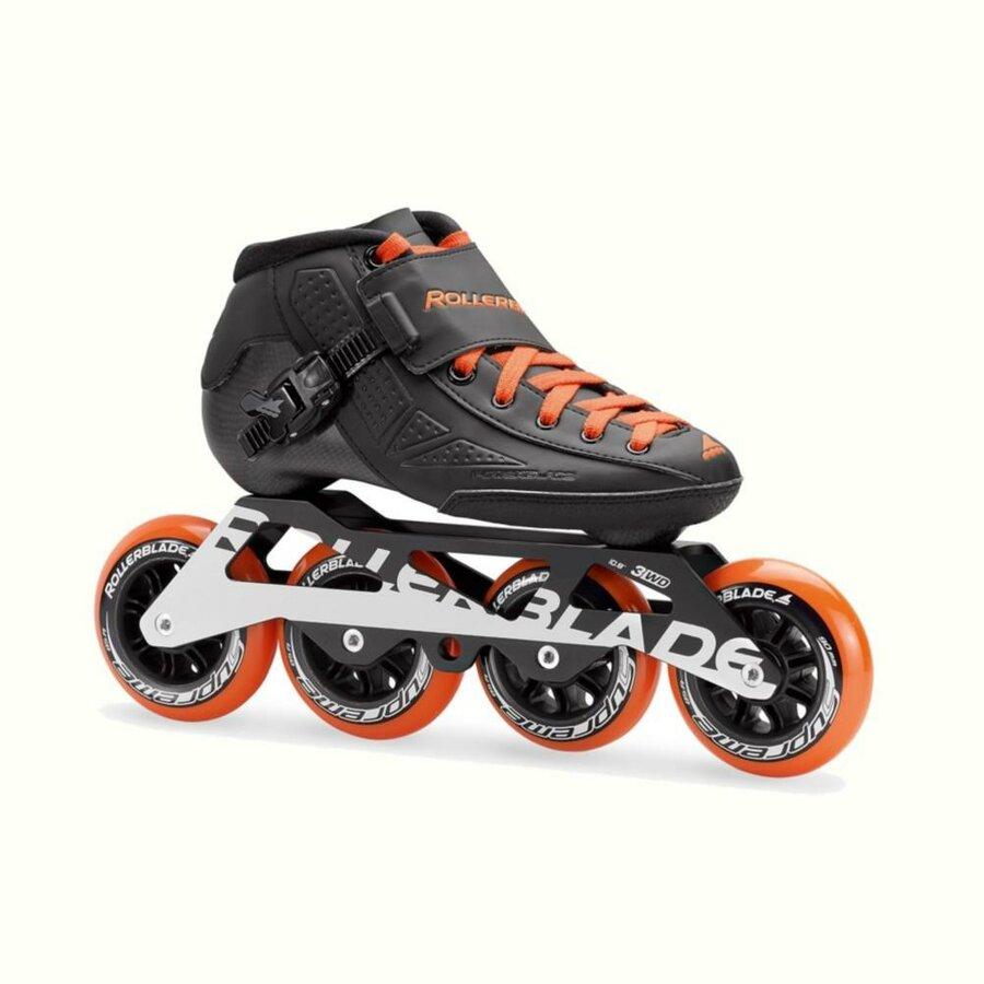 Černo-oranžové speedové kolečkové brusle Rollerblade