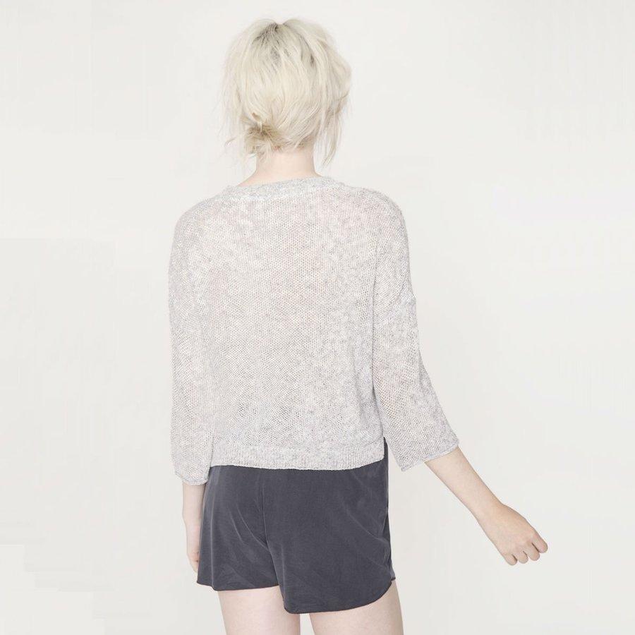 Svetr - Šedý svetr s 3/4 rukávy – XS