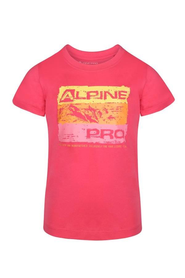 Růžové turistické tričko s krátkým rukávem Alpine Pro - velikost 104-110