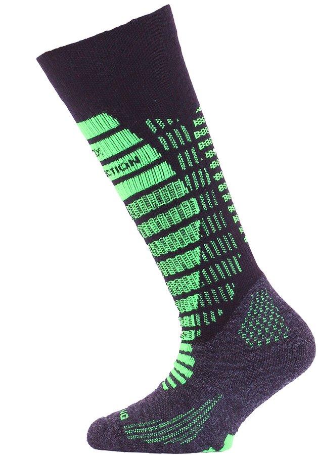 Černo-zelené dětské lyžařské ponožky Lasting - velikost 24-28 EU