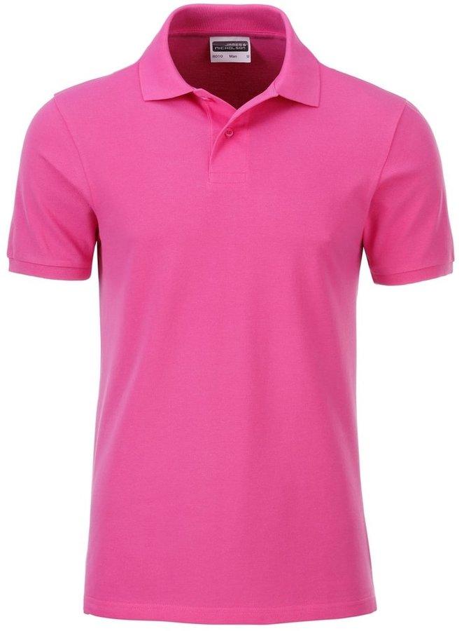 Růžová pánská polokošile s krátkým rukávem James & Nicholson - velikost S