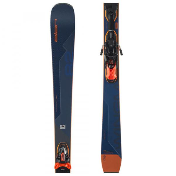 Modro-oranžové lyže s vázáním Elan