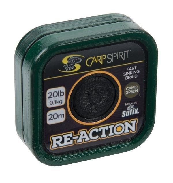 Návazcová šňůra - Carp Spirit návazcová šňůra Re-action Braid 20m Barva: Camo zelená, Nosnost: 35 lb
