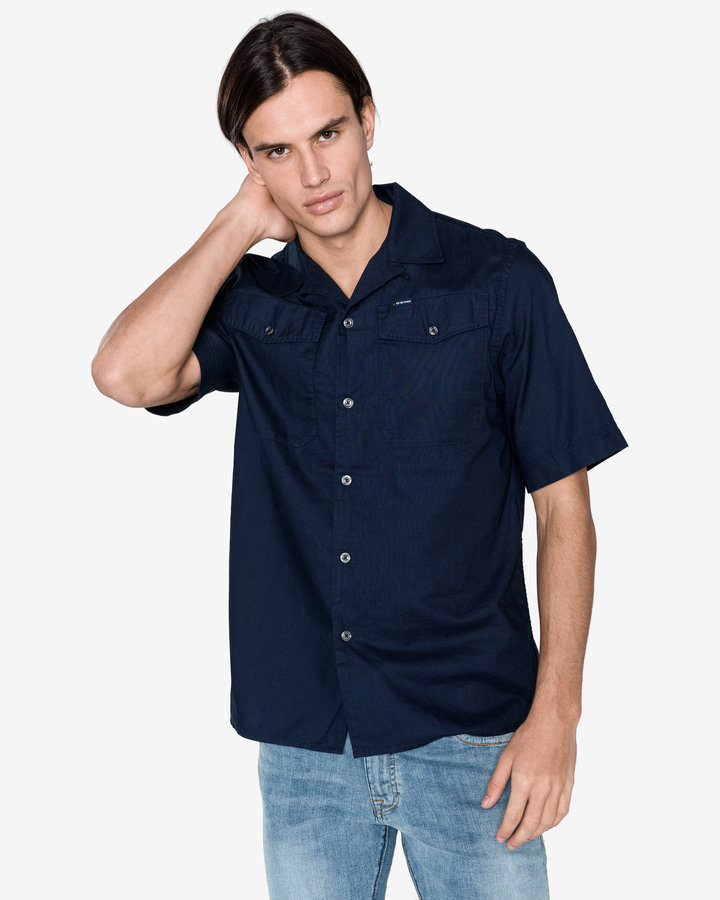 Modrá pánská košile s krátkým rukávem G-Star RAW