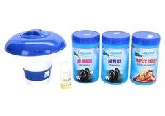 Bazénová chemie - I.Základní set na chlorové ošetření vody (Triplex tablety, pH-, pH+, tester, plovák)