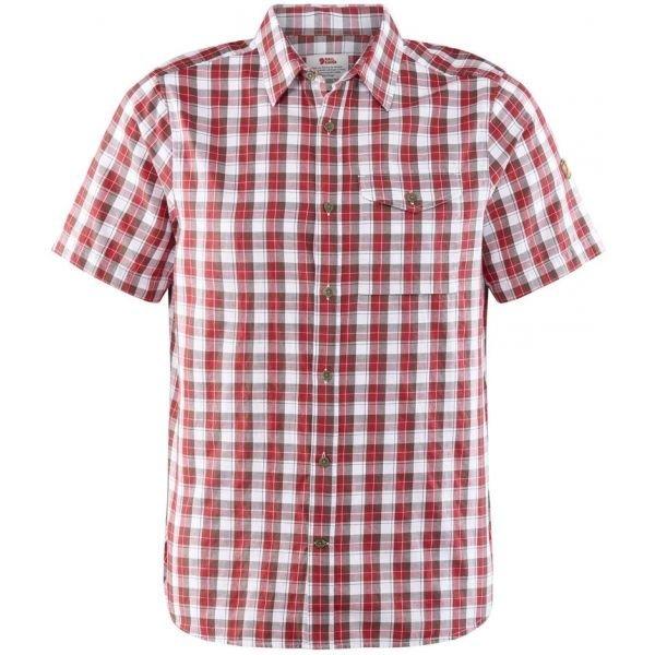 Bílo-červená pánská košile s krátkým rukávem Fjällräven