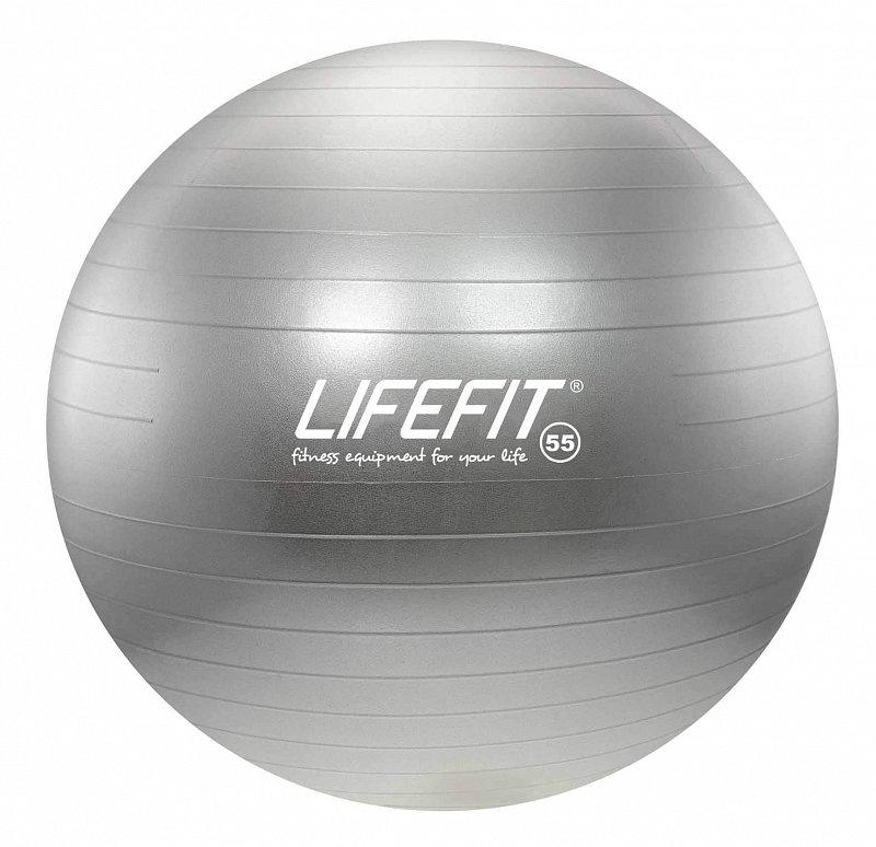 Stříbrný gymnastický míč ANTI-BURST, Lifefit - průměr 55  cm